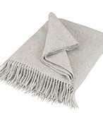 John Lewis Plain Lambswool Throw, Light Grey